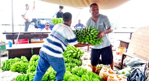 Okeanos staff load local produce from the Misco Market on board the sailing vessel for shipment to Ebeye last week. Photo: Hilary Hosia.