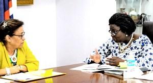 World Bank Vice President Victoria Kwakwa, right, speaks with RMI President Hilda Heine during her visit to Majuro recently.