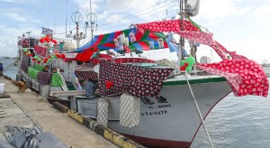 The decked out longline fishing vessel at Wednesday's arrival celebration at Uliga Dock. Photo: Hilary Hosia.