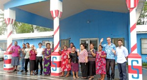 Public School System staff joined together to farewell departing Daishiro Taniguchi, who started as a JICA Volunteer for two years in Majuro and later spent three years working for the Public School System. Photo: Kelly Lorennij.