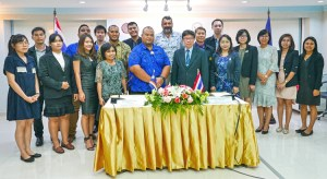 MIMRA Deputy Director Samuel Lanwi, Jr. (fifth from left, front) led the MIMRA team that signed an historic fisheries agreement with officials from the Fisheries Department in Thailand. Photo: Francisco Blaha.