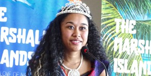 Miss Marshall Islands Billma Peter spoke Wednesday at the Marshall Islands Resort during an event with local media. She was crowned Miss Marshall Islands July 13 at a gala event at the International Conference Center. Photo: Hilary Hosia.