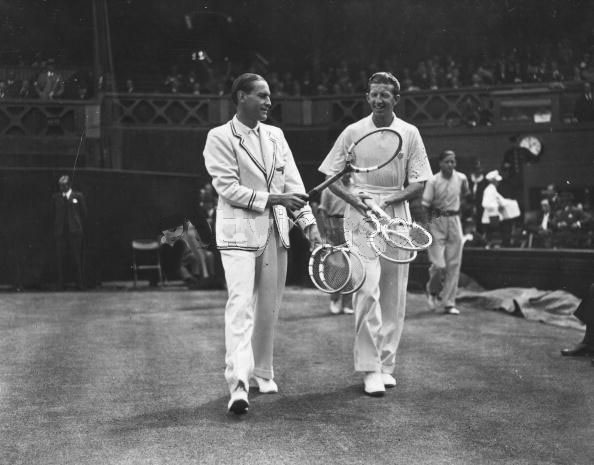 At precisely 2:00pm (notice the clock), Cramm and Budge walk onto Centre Court to contest the 1937 Wimbledon final. They hadn't played in two years.