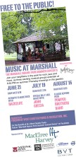 Event: Music at Marshall Concert Series. Annually, 3rd Thursday in June, July, and August. Concert, picnic, facepainter, and neighborhood friends. Photo and Flyer: JAS