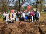 The West Chester University Men's Soccer Team volunteered to bring their rakes to help FMSP clear the signs of winter.