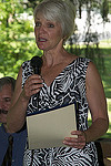 Mayor Comitta speaking in celebration of the 6th Annual Humphry Marshall Day and dedicating the Humphry Marshall plaque, a Friends of Marshall Square Park project. Photo: JAS