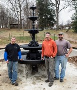 Ben Woods, Matt White, and Mike Stitley — The fountain restoration team from Heritage Metalworks of Downingtown --  after just finishing the installation. Wow!