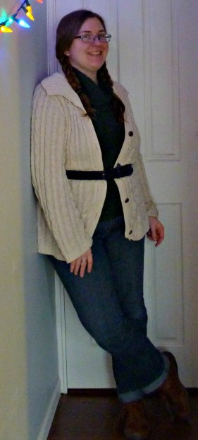 Same outfit with belted cardigan.