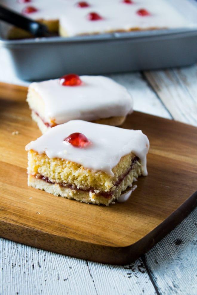 Iced Bakewell Tart Tray Bake | Marsha's Baking Addiction