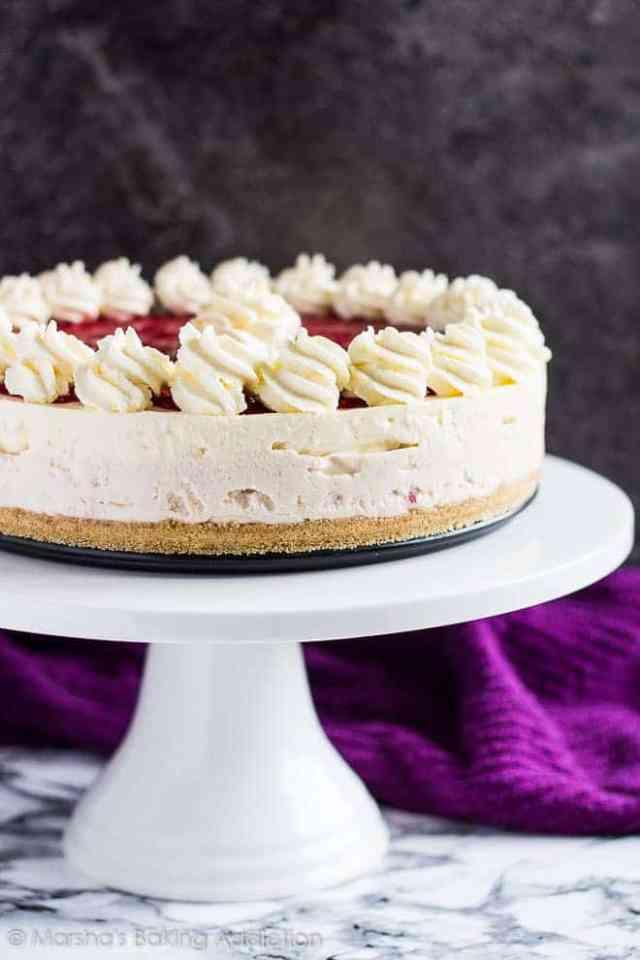 No-Bake White Chocolate Raspberry Cheesecake   marshasbakingaddiction.com @marshasbakeblog