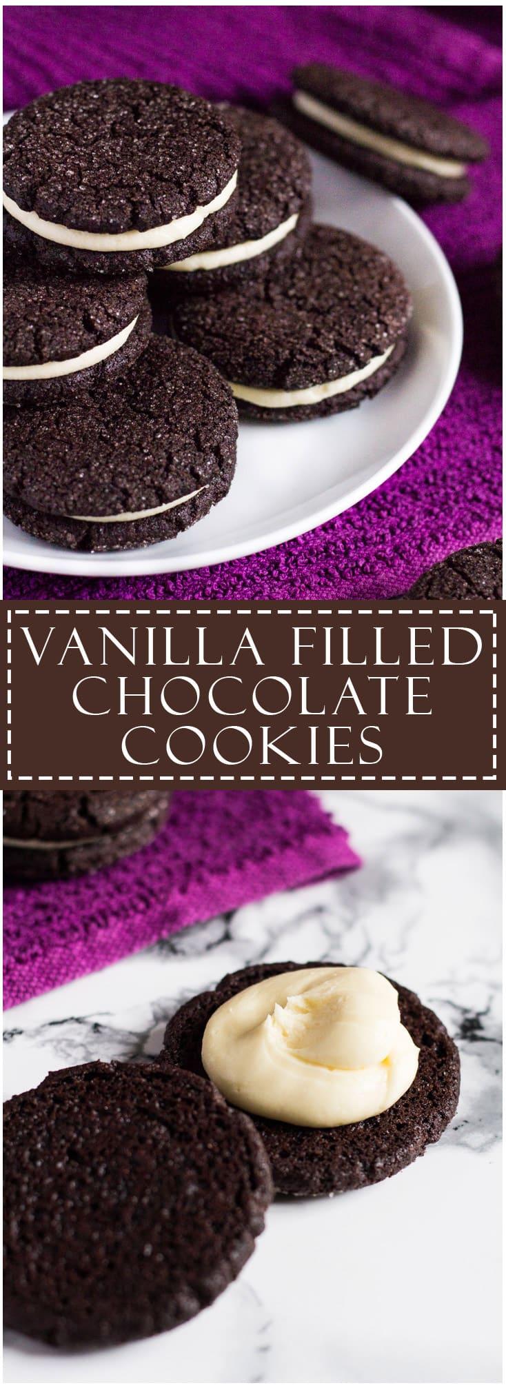 Vanilla-Filled Chocolate Cookies | marshasbakingaddiction.com @marshasbakeblog