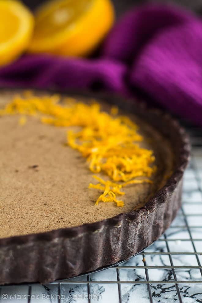 Dark Chocolate Orange Tart | marshasbakingaddiction.com @marshasbakeblog