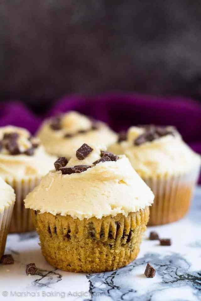 Chocolate Chip Peanut Butter Cupcakes | marshasbakingaddiction.com @marshasbakeblog