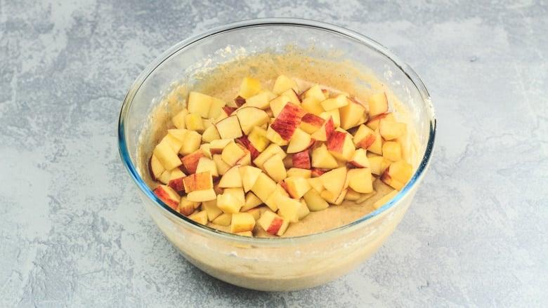 Adding apple chunks to Apple Cinnamon Muffin batter