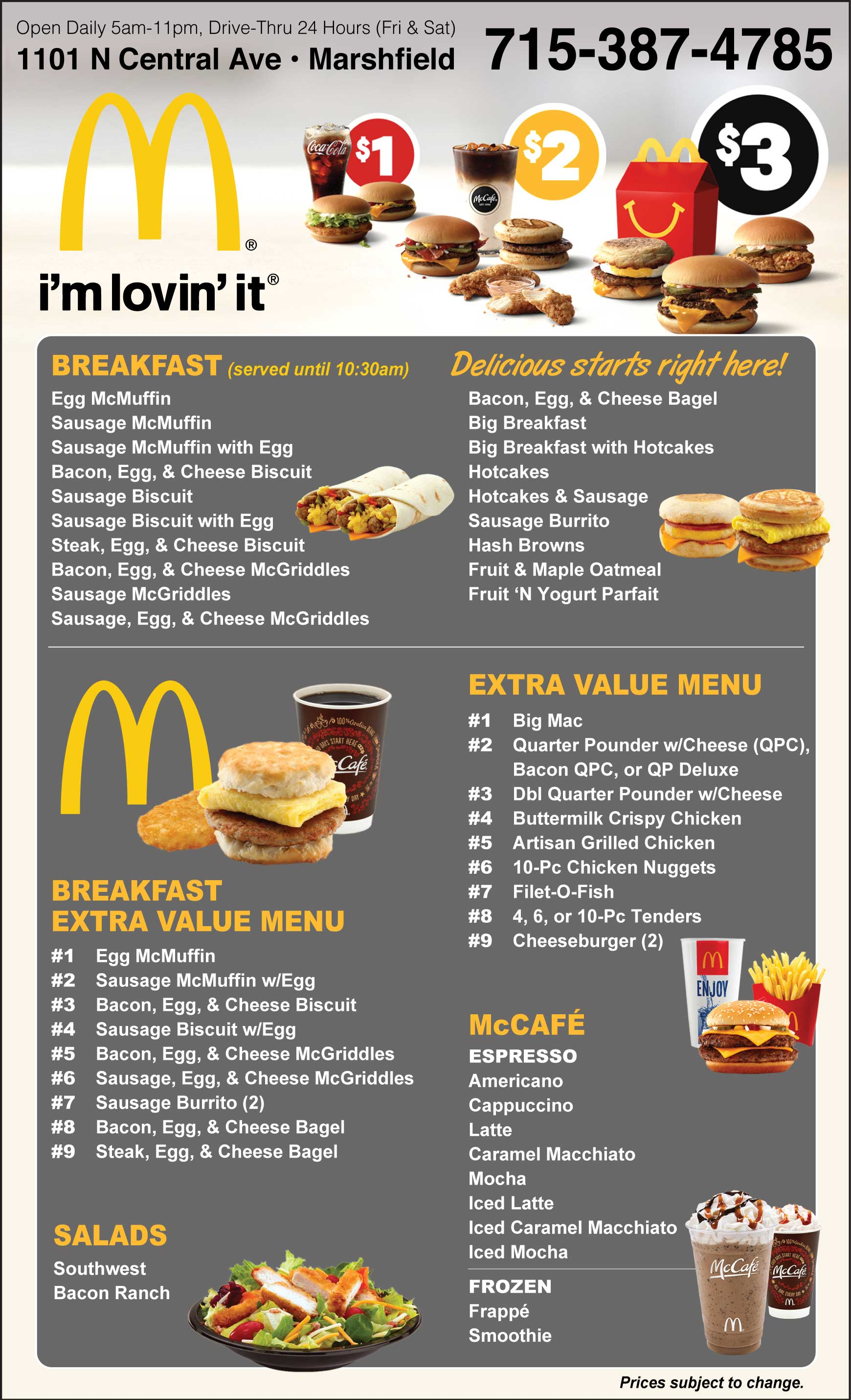 Mcdonald S Fast Food Menu Restaurant Marshfield Wi