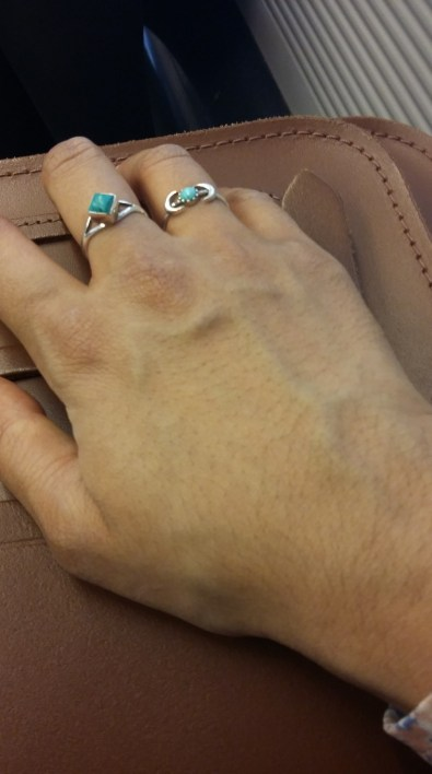 Rings from L-R: Sterling silver turquoise ring - eBay; Sterling silver turquoise double moon ring - Rose Garden Waterfall