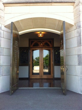 Looking through the front doors into the narthex.