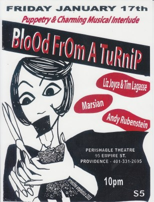 Blood from a Turnip, 2003, poster design: Ernestine Emphatica
