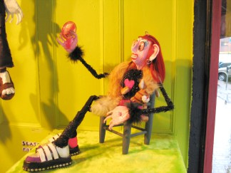 """Seated Figure"" (detail), Puppet Trash, 2004, AS220, Providence, photo: Marsian De Lellis"