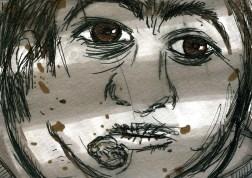 Growing Up Linda: Fudgie's Death storyboard, ©2008, Marsian De Lellis