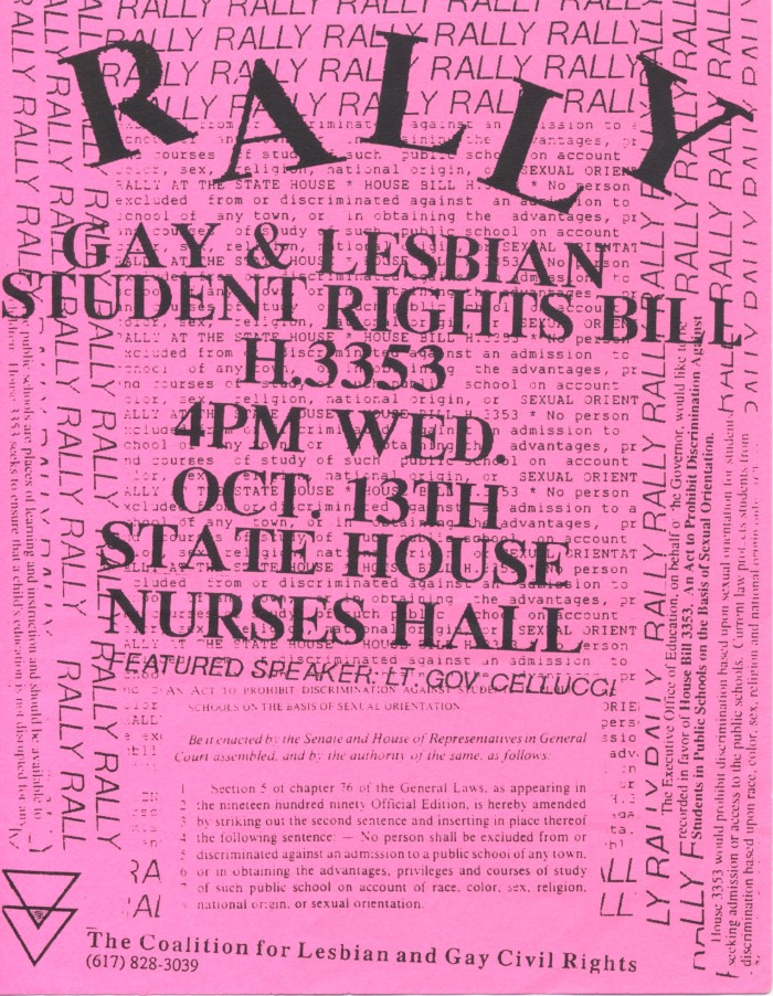 Gay & Lesbian Student Rights Bill - Rally Flyer, 1993