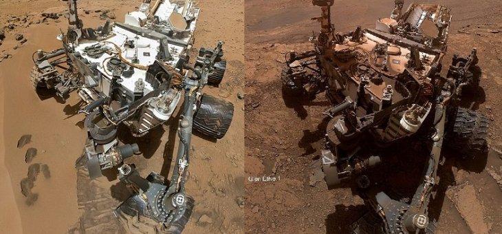 Mars'ta bulunan Curiosity aracının ilk ve son fotoğrafları ilgi çekti