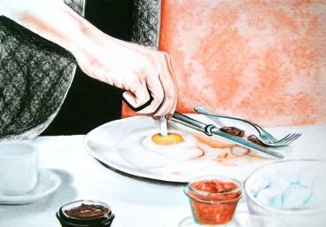 Egg (2009) Dibujo, lápiz y pastel sobre papel. Medidas 31,5 x 46,5 cm. Film: To Catch a Thief (1955) Dir. Alfred Hitchcock