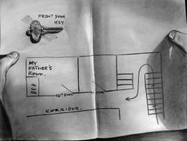 """Map"" (2012) Dibujo, lápiz de carbón y pastel negro sobre papel. Medidas 30 x 40 cm. Film: ""Strangers on a train"", Dir. A. Hitchcock, 1951."