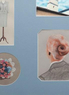 Vértigo. (detalle) Dibujo, lápiz y pastel sobre papel montados en passepartout con ventanas. 80 x 120 cm.