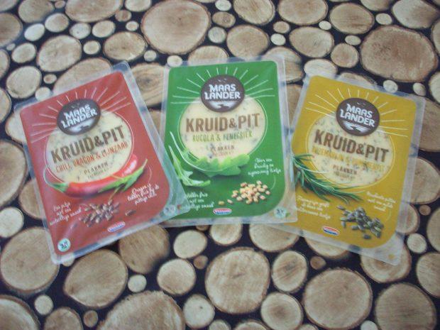 De 3 varianten Maaslander Kruid & Pit die Liesbeth heeft geproefd.