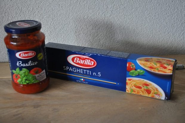 Spaghetti en saus van Barilla.