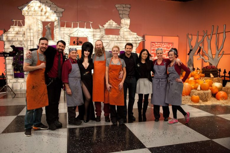 Host Rossi Morreale, judges, and finalists pose for a photo at the conclusion of the final round of Food Network's Halloween Wars, Season 5.
