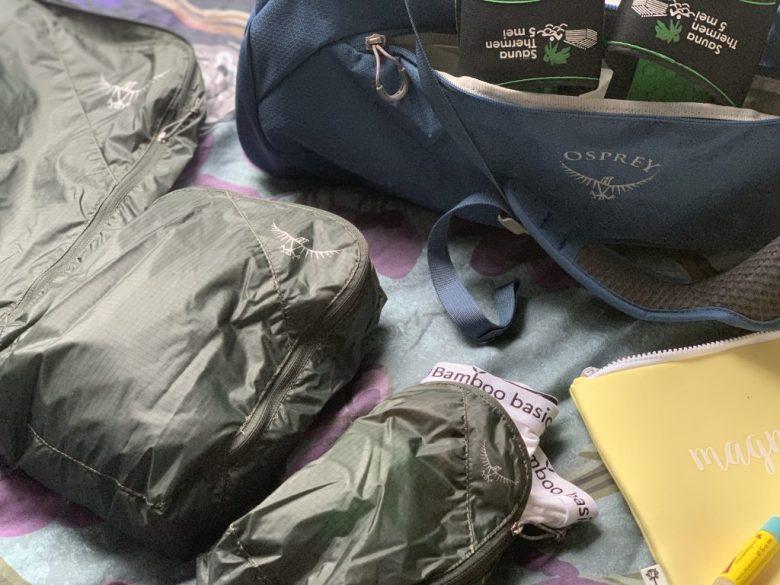Osprey duffelbag en packing cubes