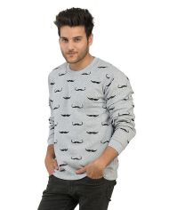 Combo of 1 Grey Mustache Sweat Shirt + 1 Black T-Shirt for Men 1