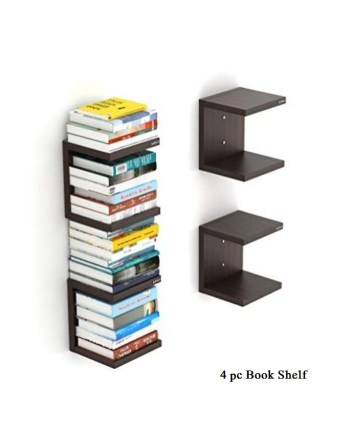 4 Wall Mount Book Shelf Rack