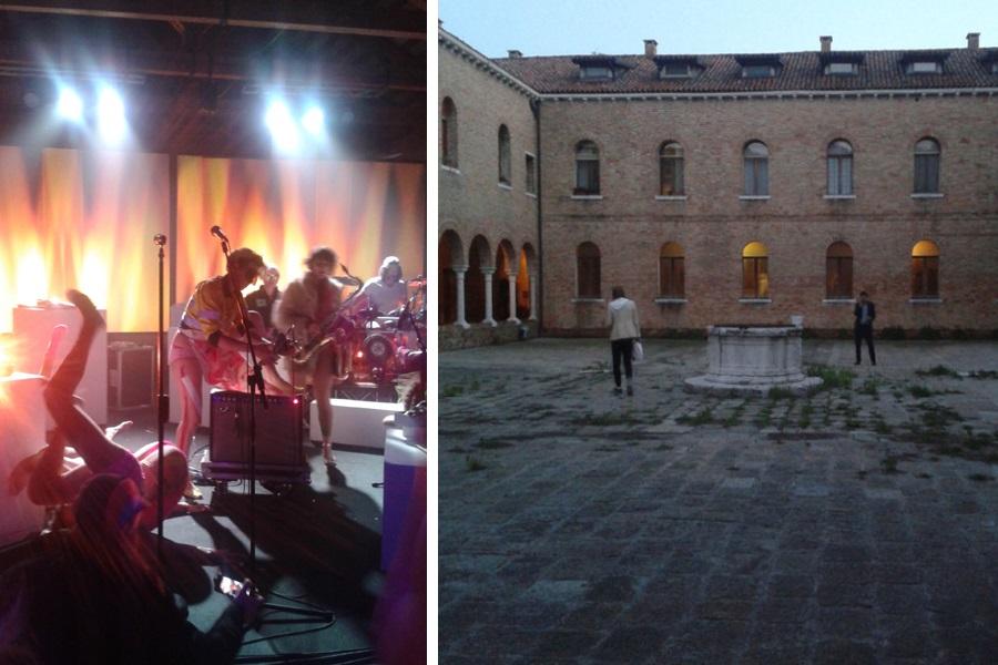 Während es auf der Bühne brummt, ist der Akademie-Innenhof beschaulich leer.