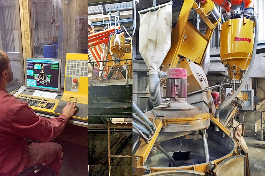 Die einzelnen Schritte die im Betonwerk zur Produktion des speziellen Betons für die Arbeiten von Christoph Weber fuer die Marta Ausstellung der fremde Raum notwendig sind