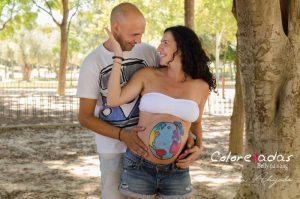 Marta Ahijado, fotografía de embarazo en Murcia y Susana de Colorehadas, bellypainting en Murcia