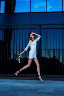 Maria Denysyneko from Quest Models in white fashion editorial by Marta Machej