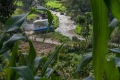 Santa Cruz Barillas, Huehuetenango, Guatemala. 25 de enero de 2013. Vista de las instalaciones de la empresa Hidro Santa Cruz en el rio Qambalam desde la casa de Dominga Pablo, vecina de la comunidad Canton Recreo B. Foto: Marta Molina