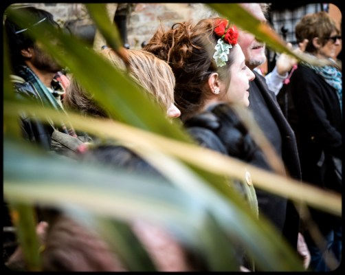 2016 Jack in the Green Drumming Crowd Through Leaves small