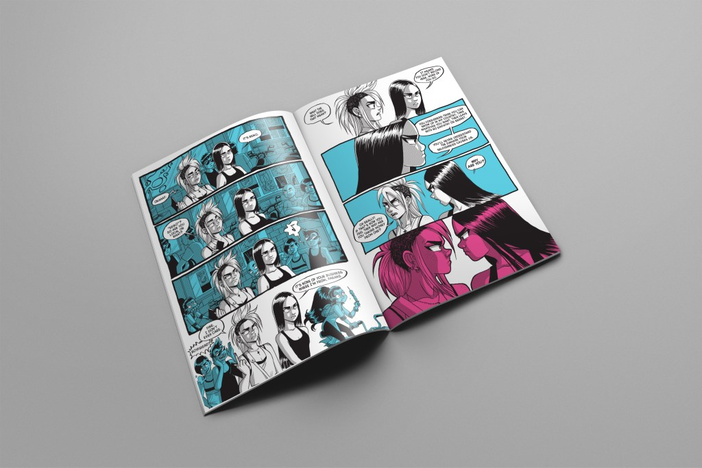 Interior spread of the Curb Angels graphic novel.