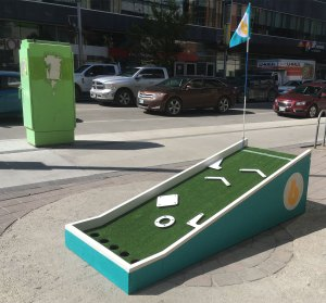 Alternate side view of Mini Peg Golf Hole 6 at Mountain Equipment Co-op