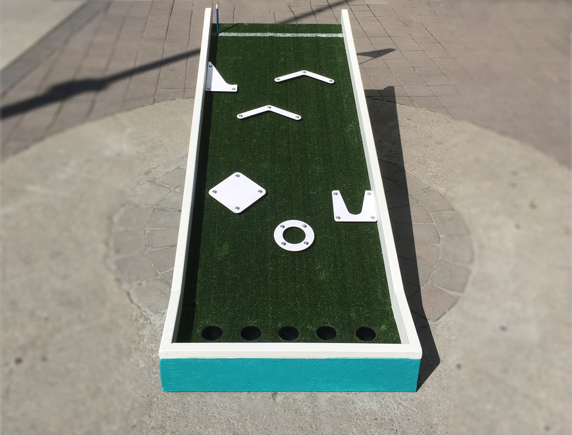 Top view of Mini Peg Golf Hole 6 at Mountain Equipment Co-op