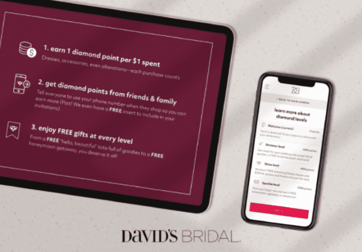 Tablet and phone screens showing loyalty program