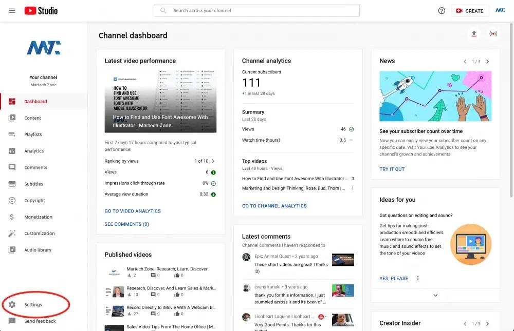 Paramètres YouTube Studio