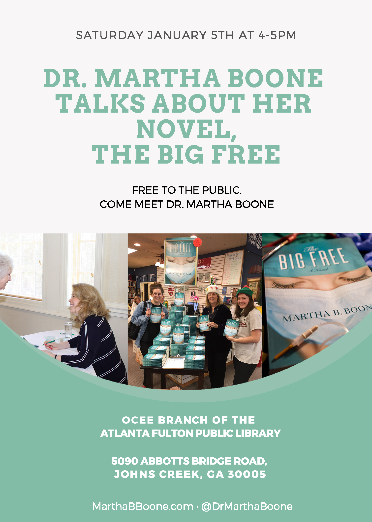 January 5th, 2019: Dr. Martha Boone talks about her novel, The Big Free