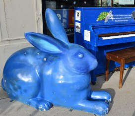 Original Blue Bunny statue sits in the middle of Dedham Square inviting visitors to pop in.