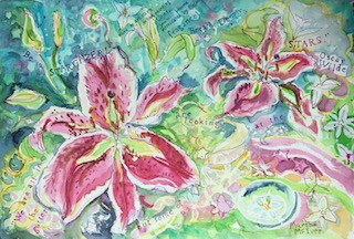 Watercolor painting of lilies