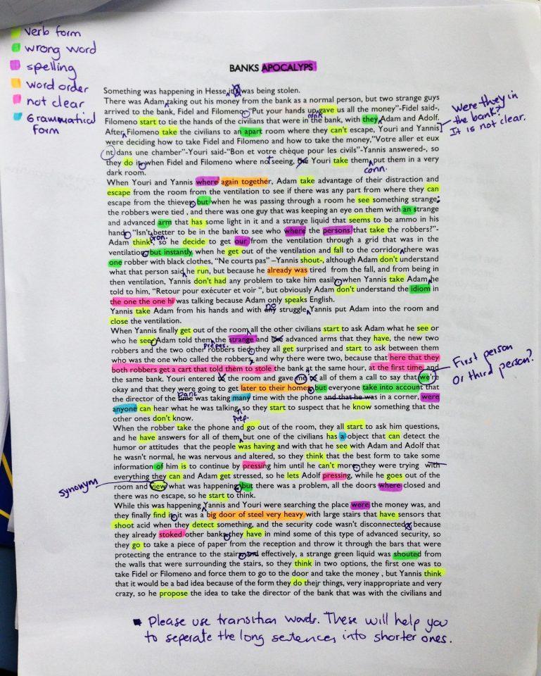Color-coding written task feedback